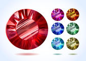 Diamonds and gemstones colorful vector set — Stock Vector