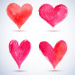 Watercolor red painted heart pack — Stock Vector