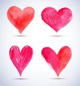 Rojo acuarela paquete de corazón pintado — Vector de stock