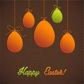 Mutlu paskalya kartı şablonu, renkli yumurta ve polka noktalı deseni — Stok Vektör