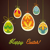счастливый шаблон карты пасха, разноцветные яйца и узором в горошек — Cтоковый вектор