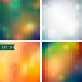 Abstract optic effect colorful pattern background set. Triangle patterns — Stock Vector