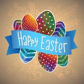 Glad påsk kort mall, färgade ägg och prickiga mönster — Stockvektor