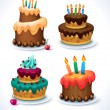 Happy Birthday cake set. Cakes decorated with icing and candles — Stock Vector