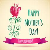 Tarjeta del día de la madre feliz flor acuarela! Te amo mamá! — Vector de stock