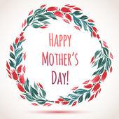 Carte de fête des fleurs aquarelle guirlande joyeux de la mère! — Vecteur