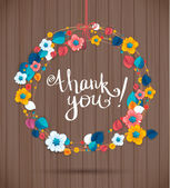 Ornamental round wreath THANK YOU. Spring floral pattern, mandala on wood texture — Stock Vector