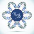 THANK YOU watercolor floral wreath Greeting card background — Stock Vector