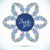 THANK YOU watercolor floral wreath Greeting card background  — Stok Vektör