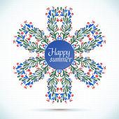 Happy Sommer Aquarell Blumen Kranz mit Papierhintergrund Schnittblume Grußkarte — Stockvektor