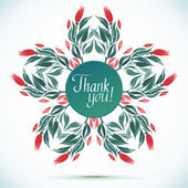 THANK YOU watercolor floral wreath Greeting card background  — Vector de stock