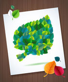 Colorful leaves card concept on wood background — Stock Vector