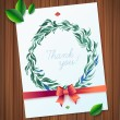 THANK YOU watercolor floral wreath — Stock Vector