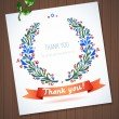 THANK YOU watercolor floral wreath with ribbon — Stock Vector