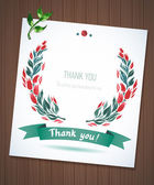 THANK YOU watercolor floral wreath  ribbon — Vettoriale Stock