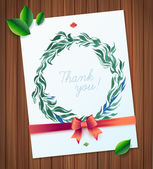 THANK YOU watercolor floral wreath — Vettoriale Stock