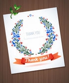 THANK YOU watercolor floral wreath with ribbon — Vettoriale Stock