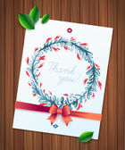 THANK YOU watercolor floral wreath ribbon and bow on wood planks. Greeting card background — Vettoriale Stock