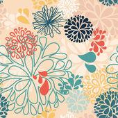 Bunte abstrakte vektor doodles in form von blumen tropfen gemacht. nahtlose muster hintergrund mit bunch.decorative illustration für print, web — Stockvektor