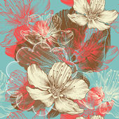 Seamless floral background with flowers apple, hand drawing, vector. — 图库矢量图片
