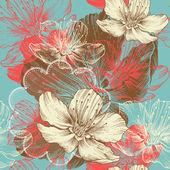 Sömlös floral bakgrund med blommor apple, hand ritning, vektor. — Stockvektor