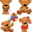 Royalty-Free Stock Vector Image: Teddy bears, set. Vector illustration.