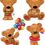 Teddy bears, set. Vector illustration. — Stock Vector #12311253