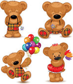Teddy bears, set. Vector illustration. — Vettoriale Stock