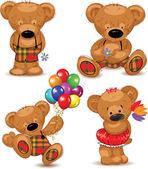 Teddyberen, instellen vectorillustratie. — Stockvector