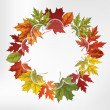 Wreath of autumn leaves, hand-drawing. Vector illustration. — Stock Vector