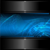 Abstract technology background with metallic banner. Vector. — Stock Vector