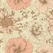 Seamless floral wallpaper, hand-drawing. Vector illustration. — Stockvector
