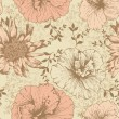Seamless floral wallpaper, hand-drawing. Vector illustration. — Vector de stock
