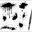 Ink Splat Set and black calligraphic pen — Stock Vector