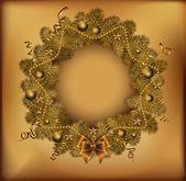 Golden Christmas wreath. Vector illustration. — Stock Vector