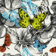 Seamless pattern with blooming roses and flying butterflies, han — ストックベクタ