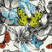 Patrones sin fisuras con rosas en flor y vuelan las mariposas, han — Vector de stock