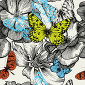 Seamless pattern with blooming roses and flying butterflies, han — Cтоковый вектор