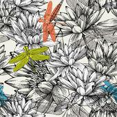 Padrão sem emenda com nenúfares e libélulas, mão de desenho — Vetorial Stock
