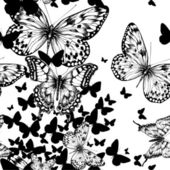 Seamless pattern with flying butterflies, hand drawing. Vector i — Stockvektor