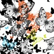 Seamless pattern with colorful butterflies, hand drawing. Vector — Stock Vector