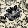 Seamless pattern with wild roses and butterflies, hand drawing. — Vector de stock  #14236215