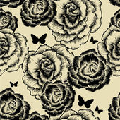 Seamless pattern with blooming roses and butterflies. Vector ill — Stock Vector