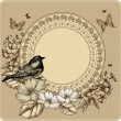 Vintage frame with bird and blooming roses, phlox. Vector illust - Stock Vector