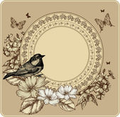 Vintage frame with bird and blooming roses, phlox. Vector illust — Stock Vector