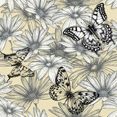 Seamless floral pattern with butterflies, hand drawing. Vector i — Stock Vector