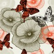 Seamless floral pattern with poppies and butterflies. Vector ill — Stock Vector