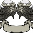 Emblem with eagle and wings and vintage banner. Vector illustrat - Stock Vector