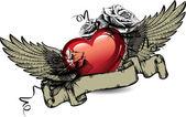 Emblem med röda hjärtan, rosor och vingar. vektor illustration. — Stockvektor
