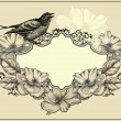 Vintage frame with bird and blooming roses. Vector illustration. — Stock Vector